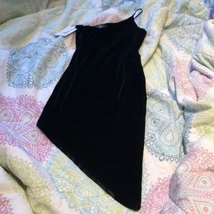 Petite black velour dress
